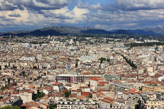 Marseille panorama - south France. Provence Côte d'Azur, France - view on Marseille city from the height of the fameous Cathedral of Notre Dame de la Garde Stock Photography