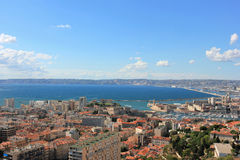 Marseille panorama - south France. Provence Côte d'Azur, France - view on Marseille old port (Vieux port) and the center of the city from the height of the Royalty Free Stock Photo