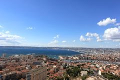 Marseille panorama - south France. Provence Côte d'Azur, France - view on Marseille old port (Vieux port) and the center of the city from the height of the Royalty Free Stock Photography