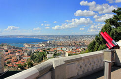 Marseille tourism with panorama - south France. Provence Côte d'Azur, France - view on Marseille old port (Vieux port) and the center of the city from the Royalty Free Stock Image