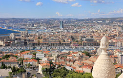 Marseille panorama - south France. Provence Côte d'Azur, France - view on Marseille old port (Vieux port) and the center of the city from the height of the Stock Image