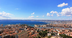 Marseille panorama - south France. Provence Côte dAzur, France - view on Marseille old port (Vieux port) and the center of the city from the height of the Royalty Free Stock Photography