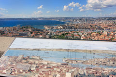 Marseille panorama with map - south France. Provence Côte dAzur, France - view on Marseille old port (Vieux port) and the center of the city from the height of Royalty Free Stock Image