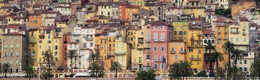 Provence colorful village houses, Menton Stock Photography