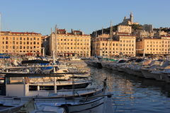 Marseille Old port south France at sunset. Provence Côte d'Azur, France - boats at Marseille old port (Vieux port), view on port, boats and fameous Cathedral of Royalty Free Stock Photo