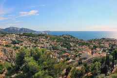 South France - view on sea coast. Provence Côte d'Azur, France - view on coast, the houses, the sea and the closest islands (including Ile d'If of Monte Cristo Royalty Free Stock Photography