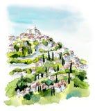 Provence Ejemplo del dibujo de la mano Pluma y acuarela del gel ilustración del vector