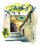 Provence Ejemplo del dibujo de la mano Pluma y acuarela negras libre illustration