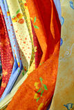 Provence fabric. Colorful Provence textiles on display at a French market Stock Images