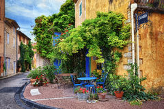 Provence, France. Beautiful street in Villes-sur-Auzon, Provence, France. Filtered image, vintage effect applied Stock Photos