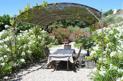 Provence France garden view. Diner table in Provence France near oleander plants Stock Photography