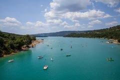 Amazing View Of Gorges Du Verdon Canyon with boats in Provence France stock photos