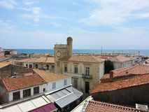 View from the roof of the church in Saintes Maries de la Mer stock photography