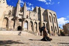 PROVENCE, FRANKREICH, 2012: Avignon-Palast, der alte päpstliche Wohnsitz Lizenzfreie Stockfotos