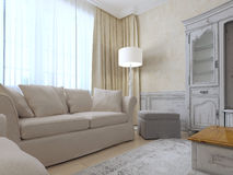 Provence interior with sofa and a large window Royalty Free Stock Photography