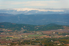 Provence landscape view in winter. General landscape view from Luberon region with snow ridges of Alpes, Provence, France in winter season Royalty Free Stock Photography