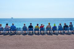 Provence, nice, France September 2017. The famous blue chairs on the Cote d`azur stock photo