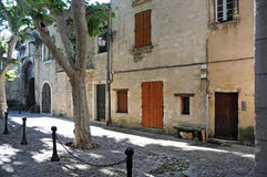 Provence. One of the beautiful typical streets in Provence. Here a street in Villeneuve Lez Avignon Royalty Free Stock Images