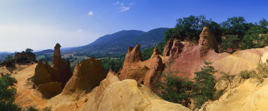 Provence - The Provencal Colorado. France - Provence region - Vaucluse district - Panoramic view of the Provencal Colorado, at Rustrel village, along the Ochre royalty free stock image