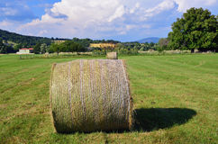 Provence rural landscape, France. Provence landscape. Haystack on the rural field at evening time. France royalty free stock photography