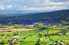 Provence landscape. France. Provence rural landscape. View from above on lavender field and farmhouses near village of Sault Stock Photo