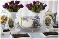 Provence sweets. Provence style, cute flowers and sweets table Stock Photos