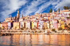 Provence village Menton daylight view. Provence village Menton scenic view, blue sky and white clouds Stock Photos