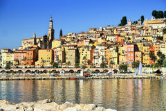 Provence village of Menton on the french Riviera. Colorful houses in Provence village of Menton on the french Riviera in the South of France near Monaco Stock Image