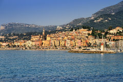 Provence village of Menton on the french Riviera. Colorful houses in Provence village of Menton on the french Riviera in the South of France near Monaco Royalty Free Stock Photo