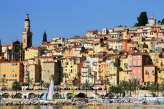 Provence village of Menton on the french Riviera in the South of France. Colorful houses in Provence village of Menton on the french Riviera in the South of Stock Image