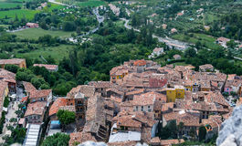 Provence - The village of Moustiers Sainte Marie seen from above Stock Images