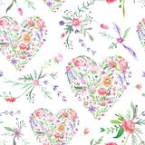 Provence Watercolor Pattern with Floral Hearts stock illustration