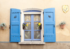 Provence window. Typical French pastel colored village window in Provence Royalty Free Stock Photo