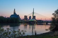 Provencher Bridge and Canadian Museum of Human Rights evening night Royalty Free Stock Photo