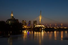 Provencher Bridge and Canadian Museum of Human Rights evening night Stock Images