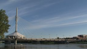 Provencher Bridge in Winnipeg, Canada stock footage