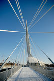 Provencher Bridge Winter. Shot of Provencher Bridge, from the west end facing east, with support cables converging to a focal point stock images
