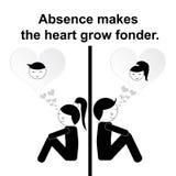 Proverbio inglés: La ausencia hace que el corazón crece más encariñado ilustración del vector