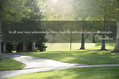 Proverbs 3 bible passage on paths. Proverb 3:6 bible verse about acknowledging god Stock Images
