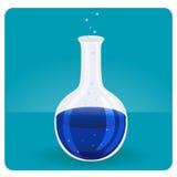 Provetta con liquido blu Fotografia Stock