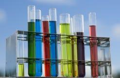 Provette con i prodotti chimici Fotografia Stock Libera da Diritti