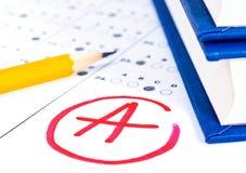 Provi il modulo di risposta con la matita Conce di istruzione della prova dell'esame Fotografia Stock Libera da Diritti