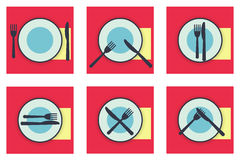 Provide etiquette set flat. Collection web icons provide etiquette on white background flat. Knives and forks on a plate. Vector illustration for app Royalty Free Stock Photography
