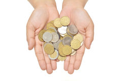 Provide many coins Royalty Free Stock Photo