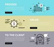 Provide Value To the client. Web banners  set. Flat line web banners of providing value. Line bar graph, money gears and customer avatar for websites and Royalty Free Stock Images