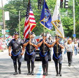 Providence Police Honor Guard. Members of the Providence, RI, Police honor guard march in the 226th Annual Bristol 4th of July Parade Stock Image