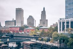 Providence rhode island city skyline in october 2017 stock photo