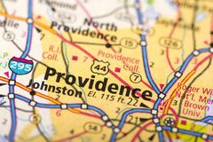 Providence, Rhode Island on map. Closeup of Providence, Rhode Island on a political map of the United States Stock Image