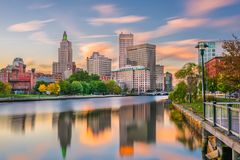 Providence, Rhode Island, USA River Skyline. Providence, Rhode Island, USA downtown cityscape viewed from above the Providence River royalty free stock photo