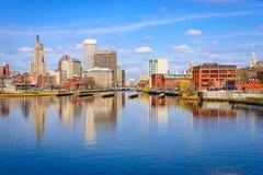 Providence, Rhode Island Skyline. Providence, Rhode Island, USA downtown skyline on the river royalty free stock photo